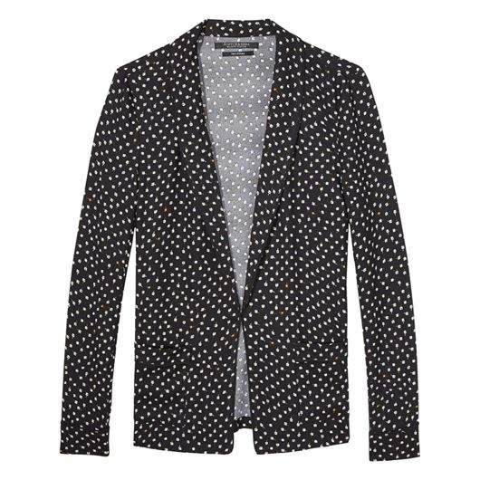 Снимка на SCOTCH&SODA WOMEN'S Basic printed drapey blazer with contrast piping and sold in