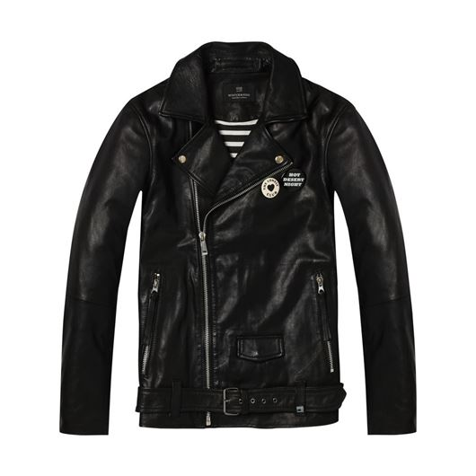 Снимка на SCOTCH&SODA MEN'S Leather biker jacket with back artwork and pins