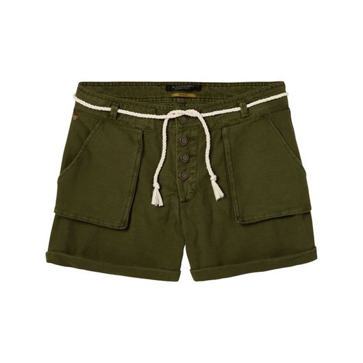 Снимка на SCOTCH&SODA WOMEN'S Soft cargo shorts, with exposed button fly and cord belt