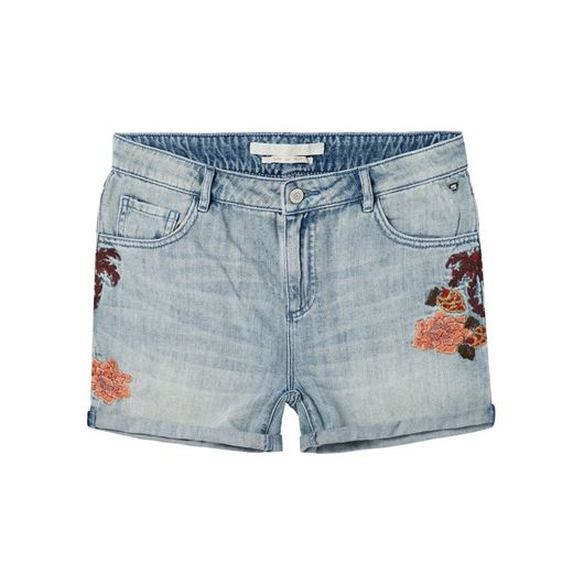 Снимка на SCOTCH&SODA WOMEN'S Boyfriend fit shorts with destroyed flower embroideries