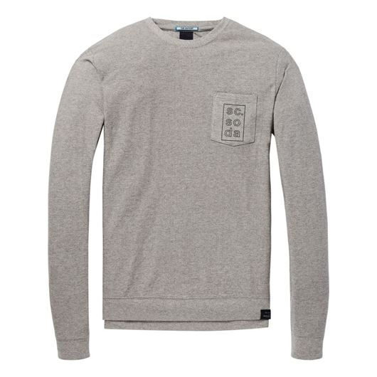 Снимка на SCOTCH&SODA MEN'S Longsleeve tee in twill structured jersey quality with chest