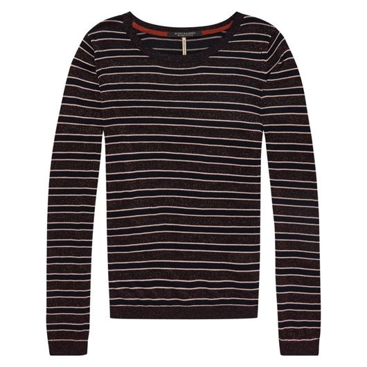 Снимка на SCOTCH&SODA WOMEN'S Knitted crew neck in stripes with lurex