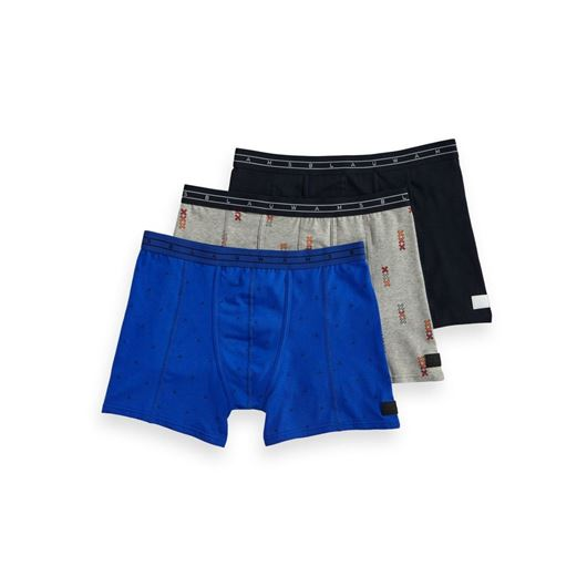 Снимка на SCOTCH&SODA MEN'S Ams Blauw 3-pack allover printed and solid boxer shorts