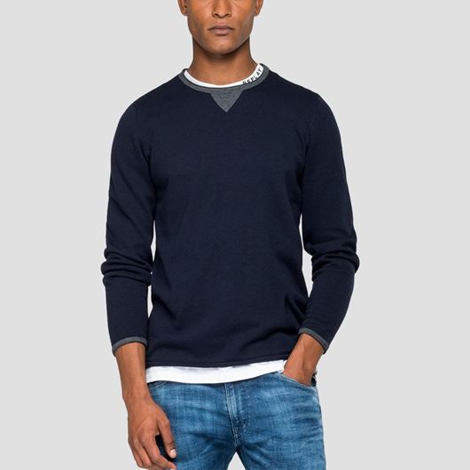 Снимка на REPLAY MEN'S SWEATER WITH CONTRASTING-COLOURED DETAILS UK3065.G22558.086