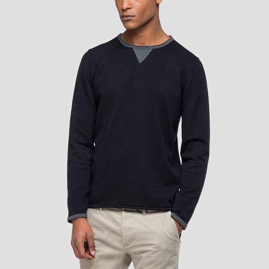 Снимка на REPLAY MEN'S SWEATER WITH CONTRASTING-COLOURED DETAILS UK3065.G22558.098