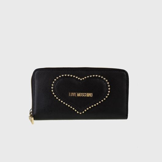 Снимка на LOVE MOSCHINO WOMEN'S ZIP AROUND WALLET WITH A HEART OF STUDS
