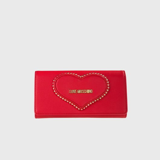 Снимка на LOVE MOSCHINO WOMEN'S ZIP AROUND WALLET WITH CHAIN AND A HEART OF STUDS