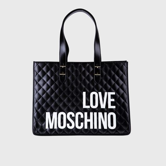 Снимка на LOVE MOSCHINO WOMEN'S QUILTED LOGO PRINT TOTE BAG