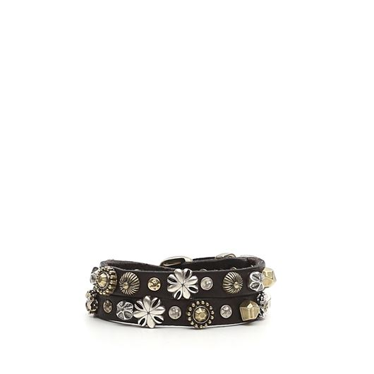 Снимка на CAMPOMAGGI WOMEN'S Two laps bracelet in black leather flower studs
