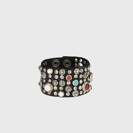 Снимка на CAMPOMAGGI WOMEN'S Wide bracelet in black leather with studs